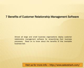 Benefits of Customer Relationship Management Software