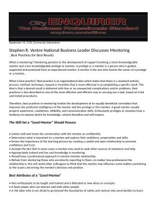 Stephen R. Ventre National Business Leader Discusses Mentoring