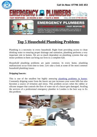Top 5 Household Plumbing Problems