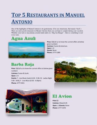 Top 5 restaurants in manuel antonio