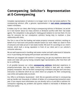 Conveyancing Solicitor's Representation atE-Conveyancing