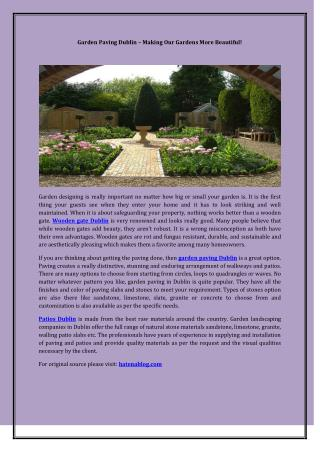 Garden Paving Dublin – Making Our Gardens More Beautiful!