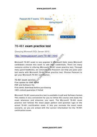 Microsoft 70-461 exam practice test