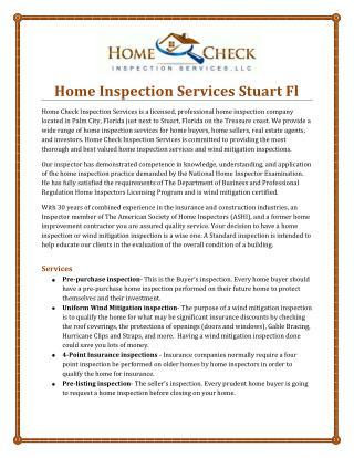 Home Inspection Services Stuart Fl