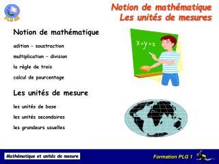 Notion de math matique  Les unit s de mesures