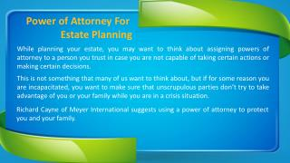 Power of Attorney For Estate Planning