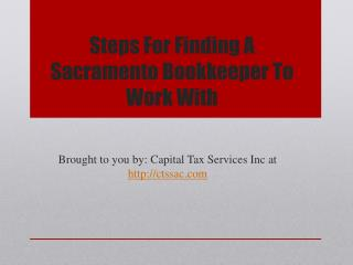 Steps For Finding A Sacramento Bookkeeper To Work With