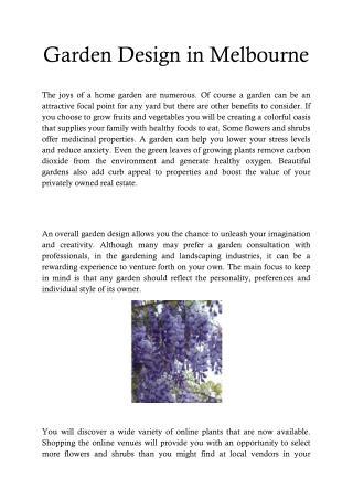 Garden Consultation Melbourne