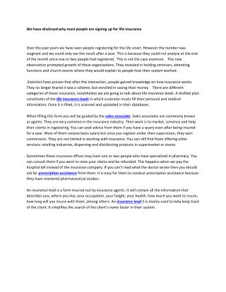 Life Insurance Leads | Prescription assistance