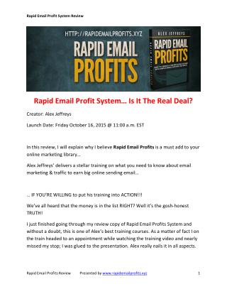 Rapid Email Profit System Review