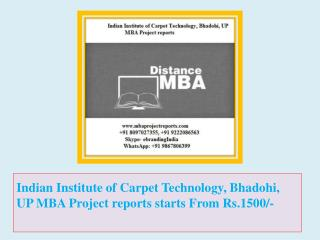 Indian Institute of Carpet Technology, Bhadohi, UP MBA Project reports starts From Rs.1500/-