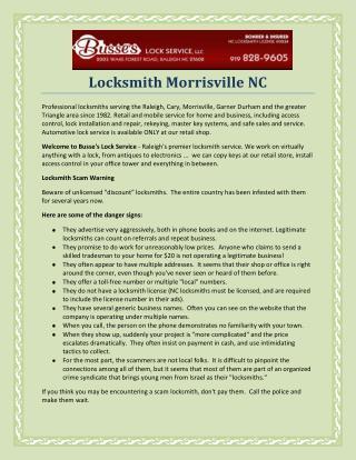 Locksmith Morrisville NC