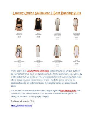 Luxury Online Swimwear | Best Bathing Suits