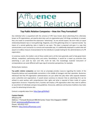 Top Public Relation Companies – How Are They Formatted?
