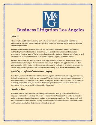 Business Litigation Los Angeles