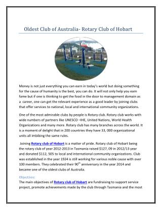 Oldest Club of Australia- Rotary Club of Hobart