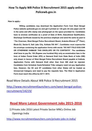 How to Apply WB Police SI Recruitment 2015 Apply Online Policewb.gov.In