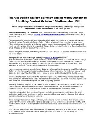 Marvin Design Gallery Berkeley and Monterey Announce A Holiday Contest October 15th-November 15th