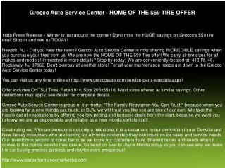 Grecco Auto Service Center - HOME OF THE $59 TIRE OFFER