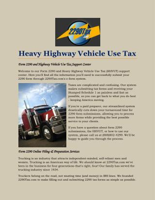 Heavy Highway Vehicle Use Tax
