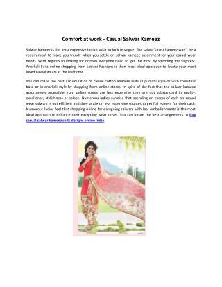 Comfort at work - Casual Salwar Kameez