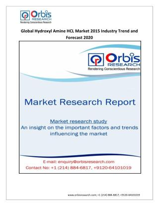 2015-2020 World Hydroxyl Amine HCL Industry Report