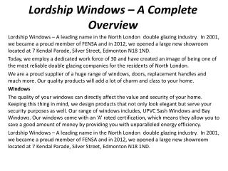 Lordship Windows – A Complete Overview