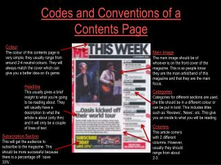 Codes & Conventions of a Magazine Contents Page
