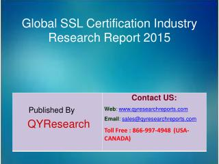Global SSL Certification Market 2015 Industry Applications, Study, Development, Growth, Outlook, Insights and Overview