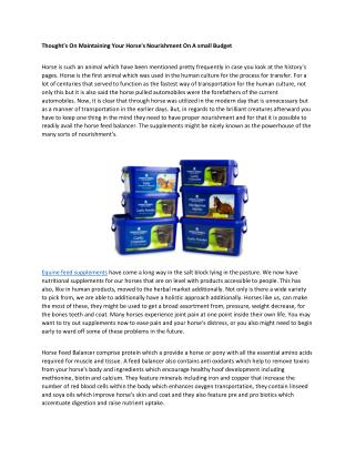 equine feed supplements