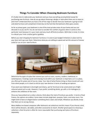 Things to consider when choosing bedroom furniture