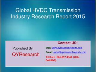Global HVDC Transmission Market 2015 Industry Development, Research, Trends, Analysis  and Growth
