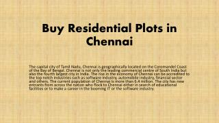 Buy Residential Plots in Chennai
