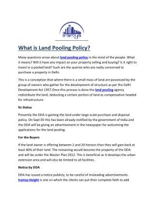 land pooling policy- iramya.com