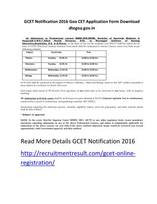 GCET Notification 2016 Goa CET Application Form Download Dtegoa.gov.In