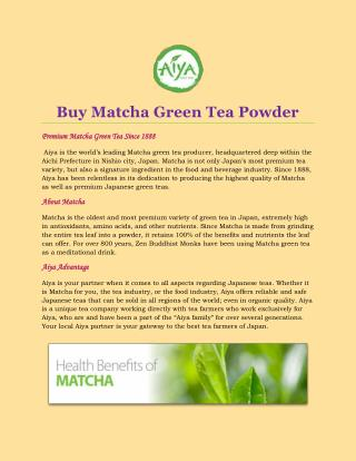 Buy Matcha Green Tea Powder