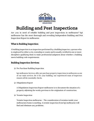 BPI Melbourne   Building Inspection Service