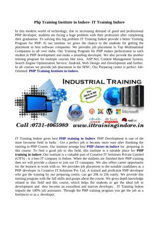 Join Now on Practical PHP Training Institute- IT Training Indore