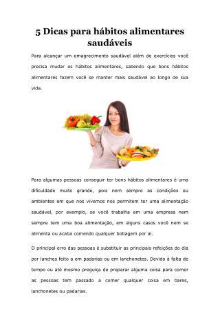 5 dicas para hábitos alimentares saudáveis