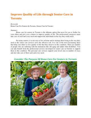 Improve Quality of Life through Senior Care in Toronto