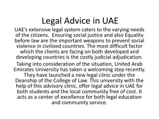 Legal advice in UAE