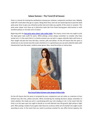 Salwar Kameez – The Trend Of all Season