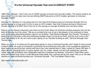 It's the Universal Hyundai Year-end CLOSEOUT EVENT