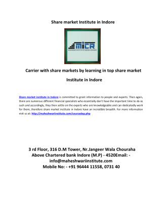 share market institute in indore grown up as easy way to learn