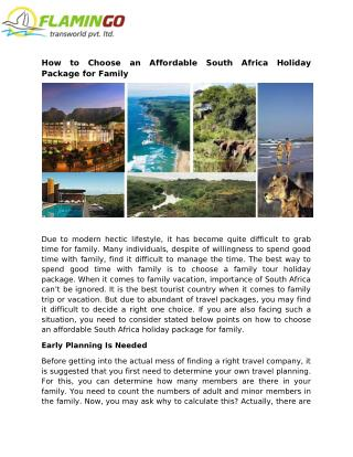 How to Choose an Affordable South Africa Holiday Package for Family
