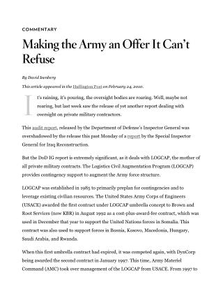 Blog 123 DOD IG  Making the Army an Offer It Can't Refuse _ Cato Institute