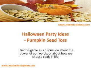 Halloween Party Ideas - Pumpkin Seed Toss