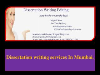 Dissertation writing services In Mumbai.