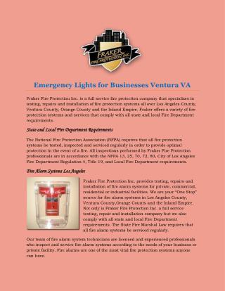 Emergency Lights for Businesses Ventura VA