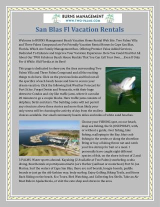 San Blas Fl Vacation Rentals